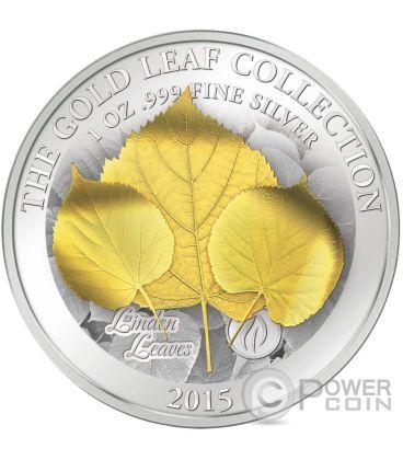 LINDEN LEAF 3D Foglia Gold Leaf Collection Moneta Argento Oro 1oz 10$ Samoa 2015