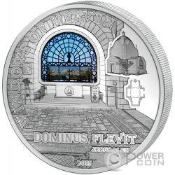 WINDOWS OF HEAVEN JERUSALEM Dominus Flevit Silver Coin 10$ Cook Islands 2015