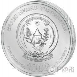 PAVE PANDA Three Dimensional 3 Oz Moneda Plata 1000 Francs Rwanda 2015