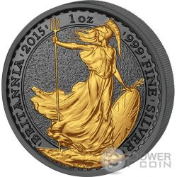 GOLDEN ENIGMA Britannia Black Ruthenium 1 Oz Silver Coin 2£ United Kingdom 2015