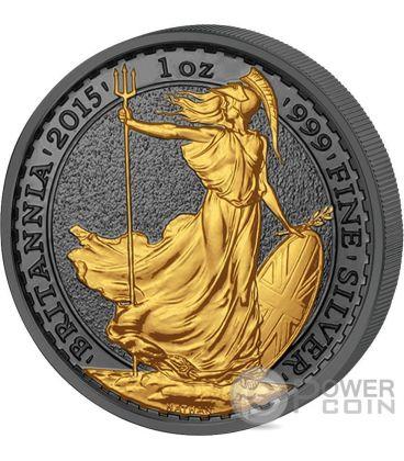GOLDEN ENIGMA Britannia Nera Rutenio Moneta Argento 2£ Regno Unito 2015