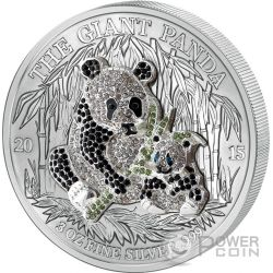 PAVE PANDA Three Dimensional 3 Oz Silver Coin 1000 Francs Rwanda 2015
