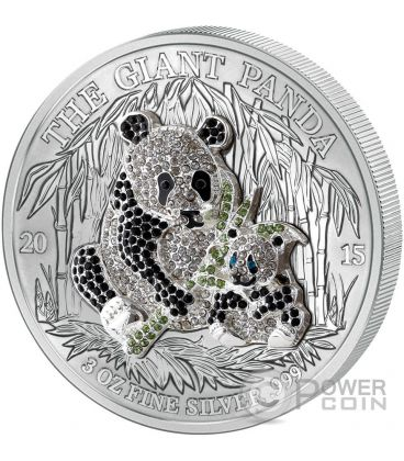 PAVE PANDA Three Dimensional 3 Oz Silver Coin 1000 Francs Rwanda 2015