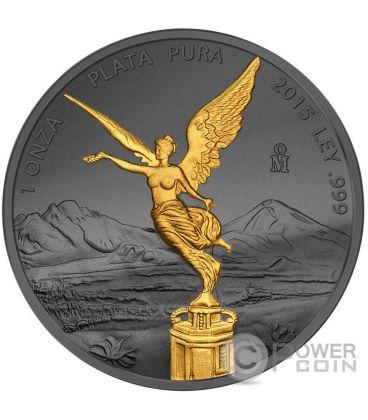 GOLDEN ENIGMA Libertad Nera Rutenio Moneta Argento Messico 2015