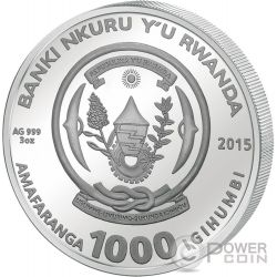 GOAT AGATE Two Layer Lunar Year Series 3 Oz Moneda Plata 1000 Francs Rwanda 2015