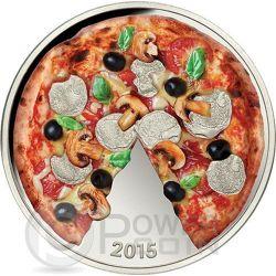 PIZZA Profumata Capricciosa Moneta Argento 5$ Isole Salomone 2015
