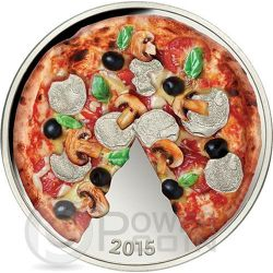 PIZZA Scented Smell Herbs Silber Münze 5$ Solomon Islands 2015