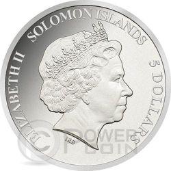 PIZZA Scented Smell Herbs Moneda Plata 5$ Solomon Islands 2015