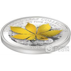 CHESTNUT LEAF 3D Gold Leaf Collection 1 Oz Silver Coin 10$ Samoa 2014