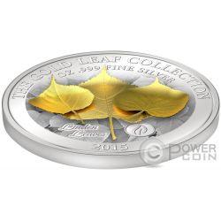 LINDEN LEAF 3D Oro Leaf Collection 1 Oz Moneda Plata 10$ Samoa 2015