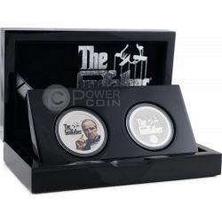 GODFATHER COLLECTIBLE SET Il Padrino New York Mafia 2 Moneta Argento 1 Oz 2$ Niue 2015