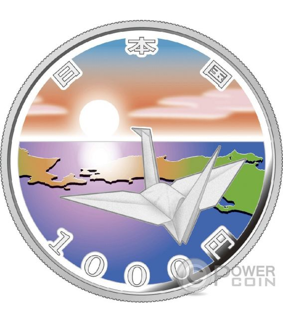 ORIGAMI CRANE EARTHQUAKE RECONSTRUCTION Program Silber Proof Münze 1000 Yen Japan 2015