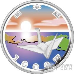 ORIGAMI CRANE EARTHQUAKE RECONSTRUCTION Program Серебро Proof Монета 1000 Ен Япония 2015