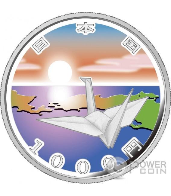 ORIGAMI CRANE EARTHQUAKE RECONSTRUCTION Program Silver Proof Coin 1000 Yen Japan 2015
