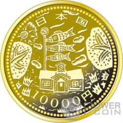 SCHOOL CARP EARTHQUAKE RECONSTRUCTION Program Gold Proof Coin 10000 Yen Japan 2015