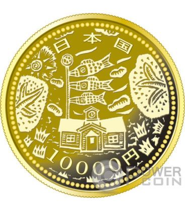 SCHOOL CARP EARTHQUAKE RECONSTRUCTION Program Gold Proof Coin 10000 Yen Japan 2015