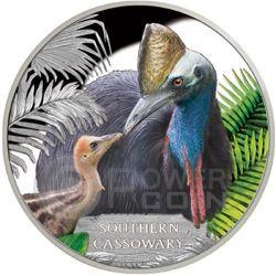 SOUTHERN CASSOWARY Casuario Australiano Moneta Argento 1$ Tuvalu 2016