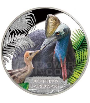 SOUTHERN CASSOWARY Extinct Endangered 1 oz Silver Proof Coin 1$ Tuvalu 2016