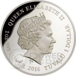 SOUTHERN CASSOWARY Extinct Endangered 1 oz Plata Proof Moneda 1$ Tuvalu 2016