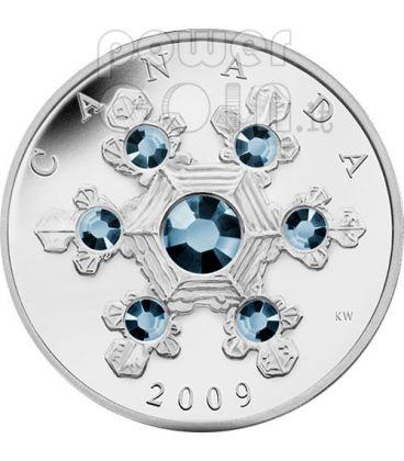 SNOWFLAKE BLUE Moneta Argento Swarovski 20$ Canada 2009