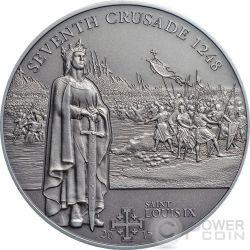 CRUSADE 7 Saint Louis IX Silver Coin 5$ Cook Islands 2015
