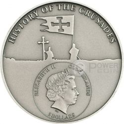 CRUSADE 7 Saint Louis IX Moneda Plata 5$ Cook Islands 2015