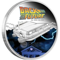 RITORNO AL FUTURO DELOREAN Back To The Future Moneta 1 Oz Argento 1$ Tuvalu 2015