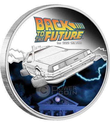 RITORNO AL FUTURO DELOREAN Back To The Future Moneta 1 Oz Argento 1$ Tuvalu 2015