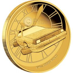 BACK TO THE FUTURE DELOREAN 30th Anniversary Gold Coin 25$ Tuvalu 2015