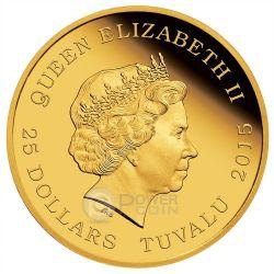 BACK TO THE FUTURE DELOREAN 30th Anniversary Gold Münze 25$ Tuvalu 2015