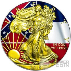 US STATE FLAGS MISSISSIPPI Walking Liberty Oro Bandiera Moneta Argento 1$ US Mint 2015