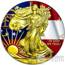 US STATE FLAGS GEORGIA Walking Liberty 1 Oz Silver Coin 1$ US Mint 2015