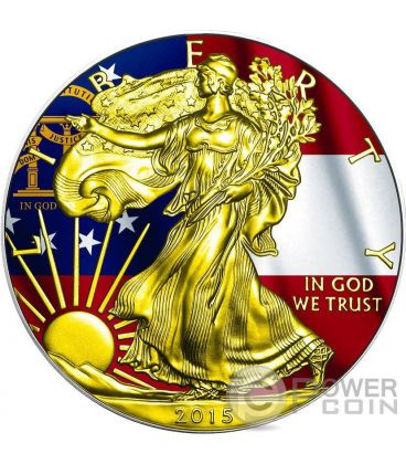 US STATE FLAGS GEORGIA Walking Liberty Oro Bandiera Moneta Argento 1$ US Mint 2015