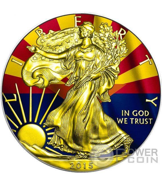 US STATE FLAGS ARIZONA Walking Liberty Oro Bandiera Moneta Argento 1$ US Mint 2015