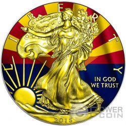 US STATE FLAGS ARIZONA Walking Liberty 1 Oz Moneda Plata 1$ USA 2015
