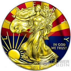 US STATE FLAGS ARIZONA Walking Liberty Oro Bandiera Moneta Argento 1$ US Mint 2015