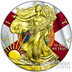US STATE FLAGS FLORIDA Walking Liberty 1 Oz Moneda Plata 1$ USA 2015