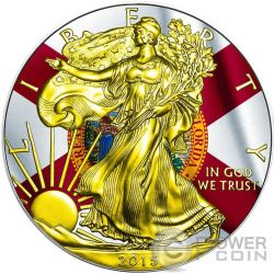 US STATE FLAGS FLORIDA Walking Liberty Oro Bandiera Moneta Argento 1$ US Mint 2015