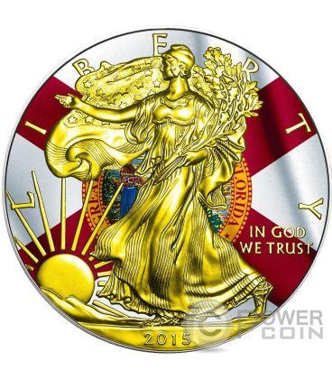 US STATE FLAGS FLORIDA Walking Liberty Oro Bandiera Moneta Argento 1$ US Mint 2015