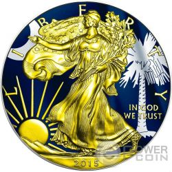 US STATE FLAGS SOUTH CAROLINA Walking Liberty 1 Oz Silver Coin 1$ US Mint 2015