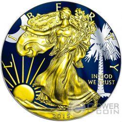 US STATE FLAGS SOUTH CAROLINA Walking Liberty Oro Bandiera Moneta Argento 1$ US Mint 2015