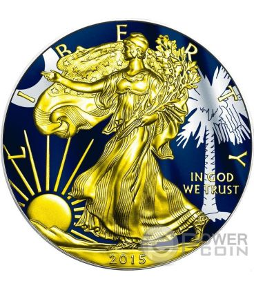 US STATE FLAGS SOUTH CAROLINA Walking Liberty 1 Oz Silver Coin 1$ US Mint 2015