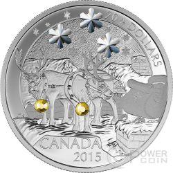 HOLIDAY REINDEER Swarovski Christmas Santa Claus Silver Coin 20$ Canada 2015