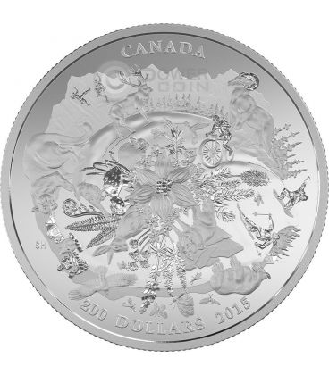 RUGGED MOUNTAINS Landscape 2 Oz Silver Coin 200$ Canada 2015