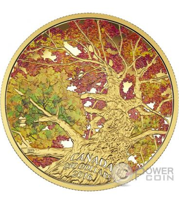 KALEIDOSCOPE OF COLOUR Maple Canopy Gold Coin 250$ Canada 2016