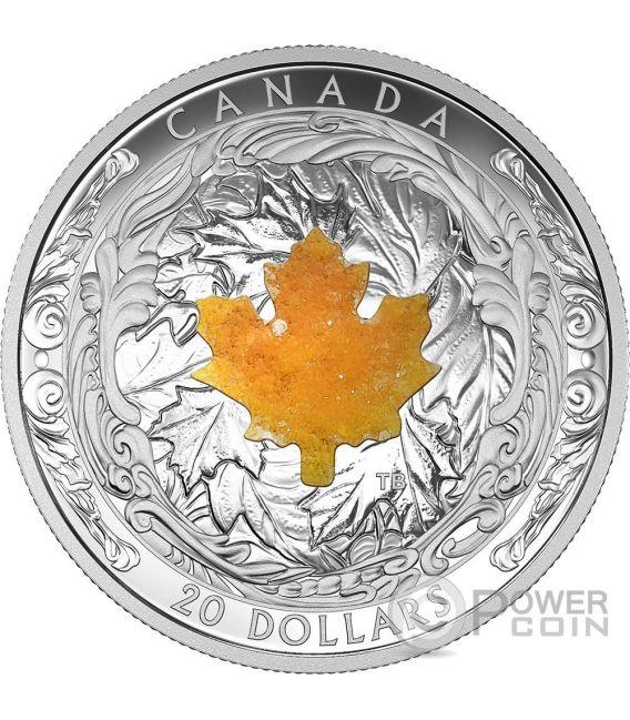 Majestic Maple Leaves Drusy Stone Silver Coin 20 Canada