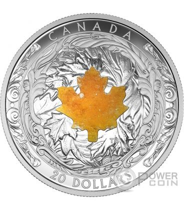 MAJESTIC MAPLE LEAVES Drusy Stone Silver Coin 20$ Canada 2016