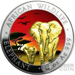 ELEPHANT SUNSET Elefante Tramonto Moneta Argento 100 Shillings Somalia 2015