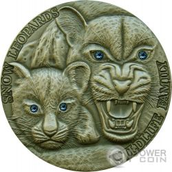 SNOW LEOPARDS Wildlife Family Silver Coin 1 Oz 1$ Niue 2015
