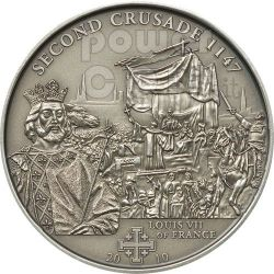 CRUSADE 2 Louis VII Holy Crusades Silber Münze 5$ Cook Islands 2010